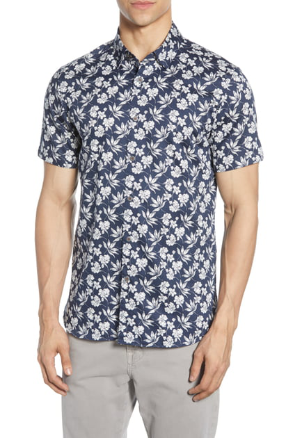 Ted Baker Kolar Statement-Print Slim Fit Shirt In Navy