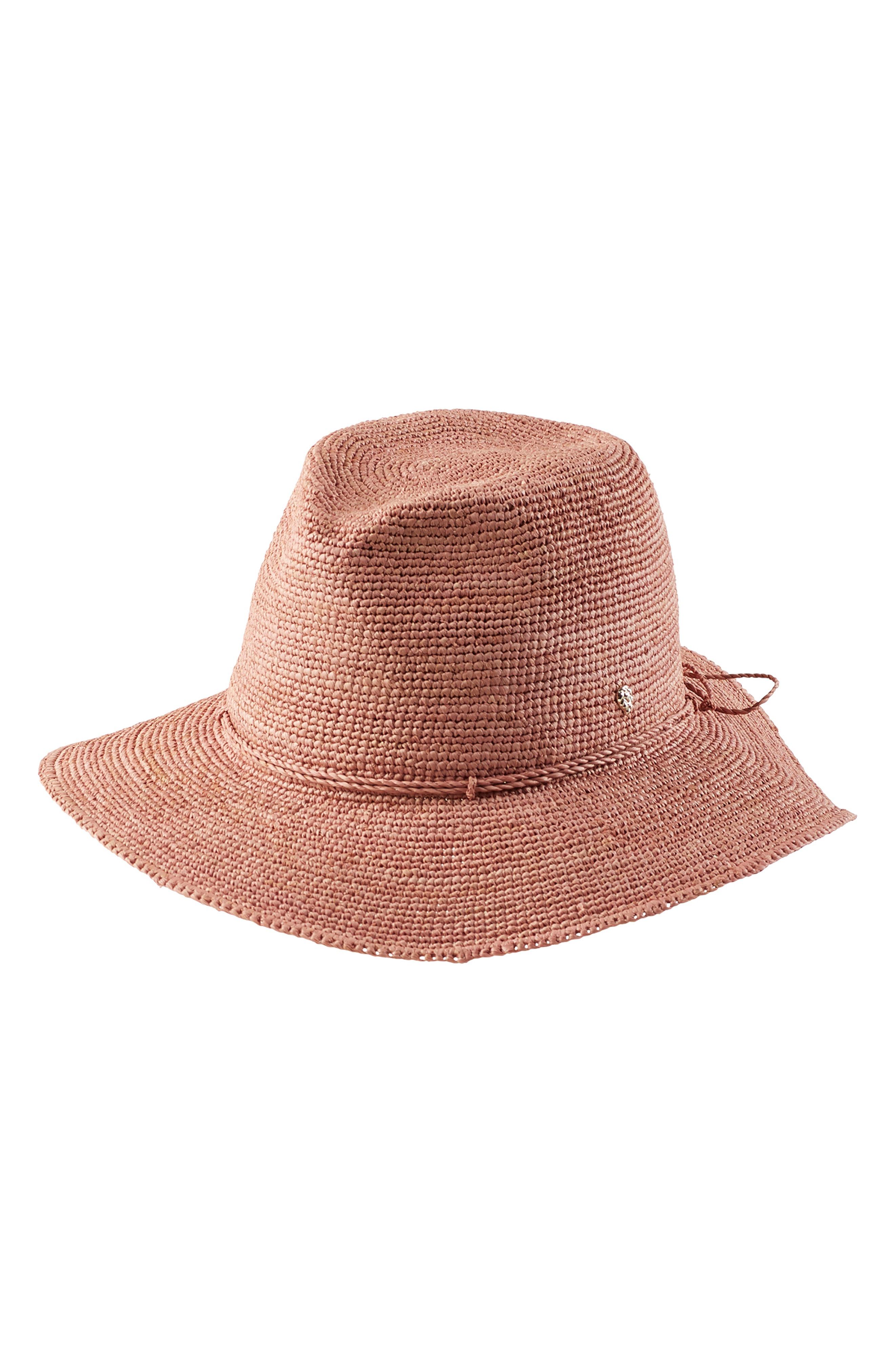 b4077ffe3389 Helen Kaminski Desmonda Packable Raffia Fedora - Pink In Dusty Salmon