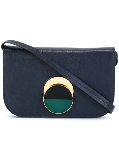 Marni 'Pois' Small Resin Slide Lock Leather Crossbody Bag In Blue