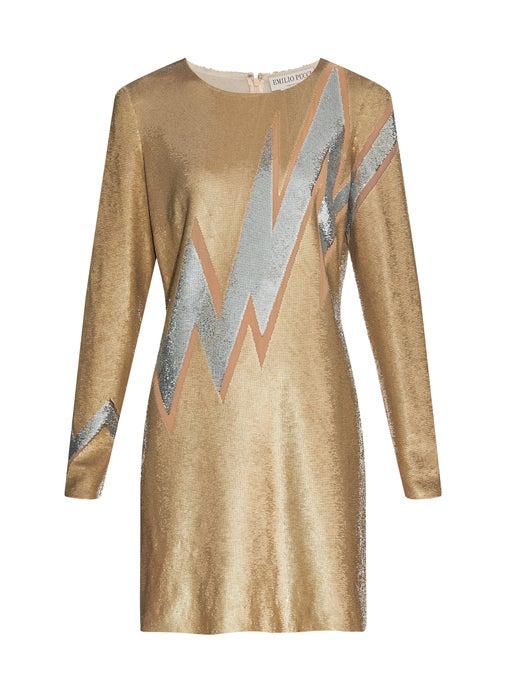 Emilio Pucci Beaded Lightning Bolt Mini Dress In Gold-Tone