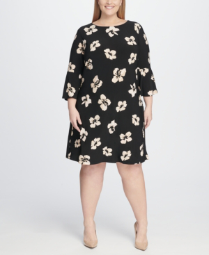 Plus Size Floral A-Line Bell Sleeve Dress in Ballerina Pink/Black