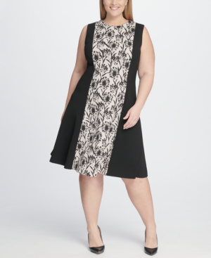 Plus Size Shadow Print Fit And Flare Dress in Ballerina Pink/Black
