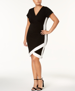 Almost Famous Trendy Plus Size Faux-Wrap Dress In Black/White