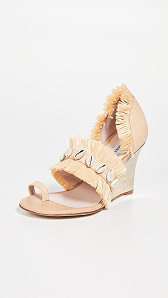 Leandra Medine Raffia Fringe Wedge Sandals In Natural