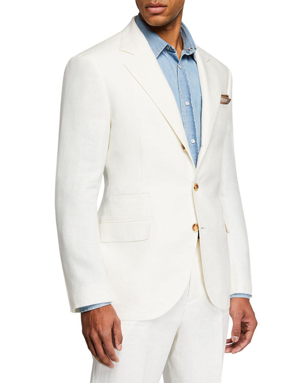 Brunello Cucinelli Men's Chevron Panama Two-Piece Linen Suit In Beige