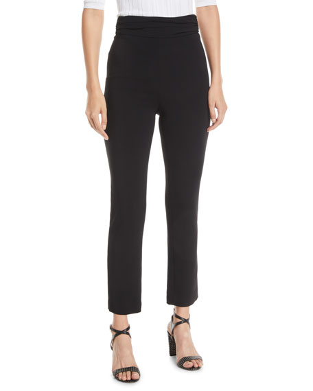 Cushnie Ruched-Waist Fitted Skinny-Leg Liquid Cady Pants In Gray