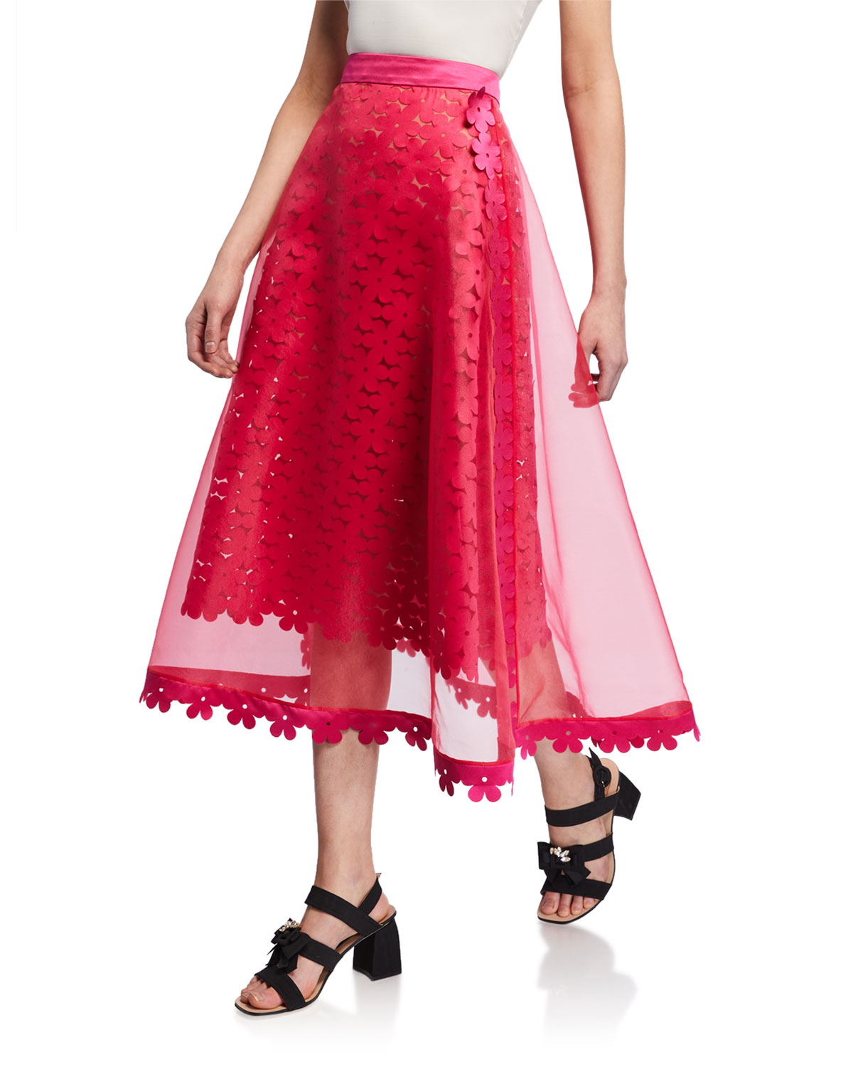 858f33087a Paskal Double-Layered Laser-Cut Floral Midi Skirt In Fuchsia   ModeSens