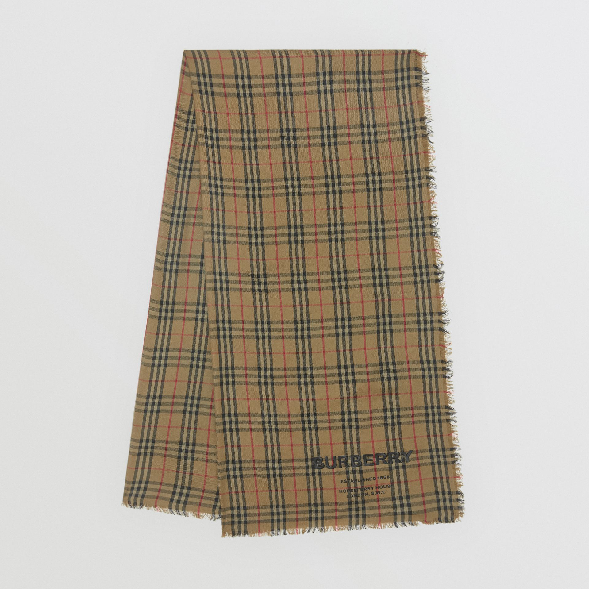 Burberry Embroidered Vintage Check Lightweight Cashmere Scarf In Olive Green