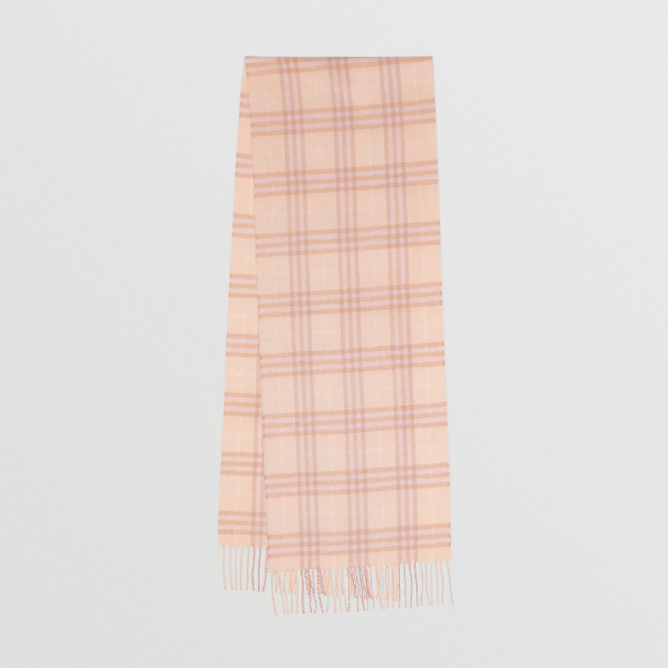 Burberry Embroidered Vintage Check Lightweight Cashmere Scarf In Dusty Pink