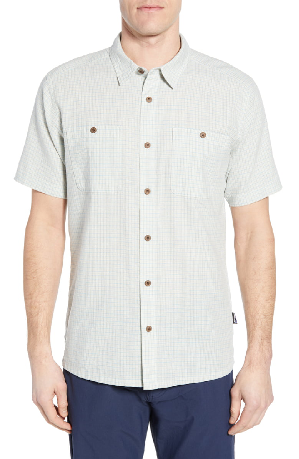 Patagonia Back Step Regular Fit Short Sleeve Shirt In Owens: Atoll Blue