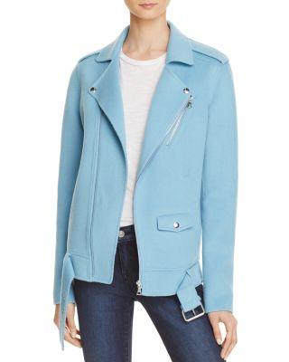 24e6dab03d5 Theory Tralsmin Wool-Cashmere Biker Jacket In Ocean Blue | ModeSens