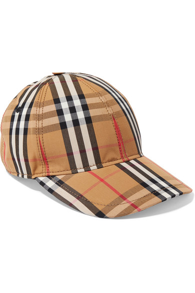 Burberry Checked Cotton-Canvas Baseball Cap In Camel