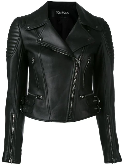 Tom Ford Pebbled-Leather Moto Jacket, Black