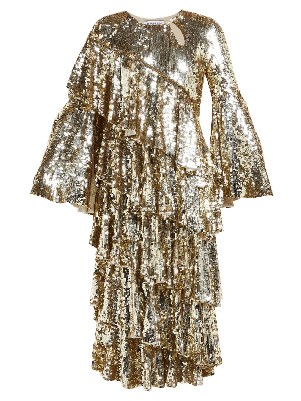 Osman Diaz Tiered Sequinned Midi Dress In Gold
