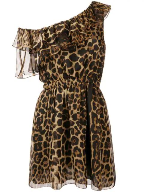 Saint Laurent One-Shoulder Ruffled Leopard-Print Silk-Chiffon Mini Dress In Brown