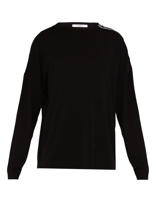 Givenchy - Logo Tape Crew Neck Wool Sweater - Mens - Black