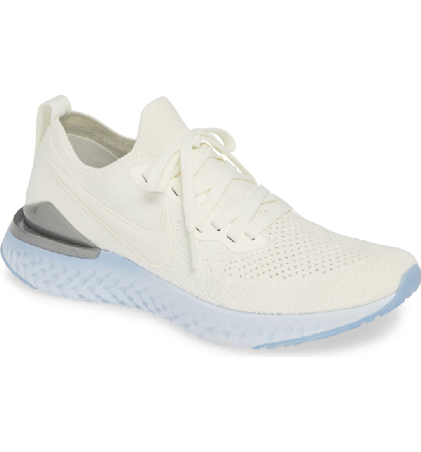 800a5356b99 Nike Women s Epic React Flyknit 2 Low-Top Sneakers In Sail  Aluminum  Silver