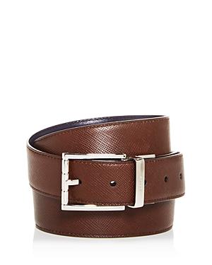 Bally Men's Astor Embossed Leather Reversible Belt In Mid Brown/Silver Buckle