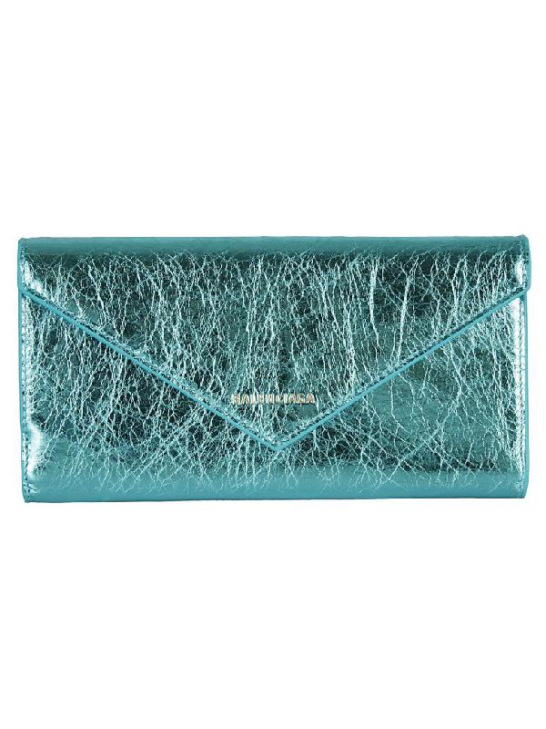 Balenciaga Logo Continental Wallet In Turquoise