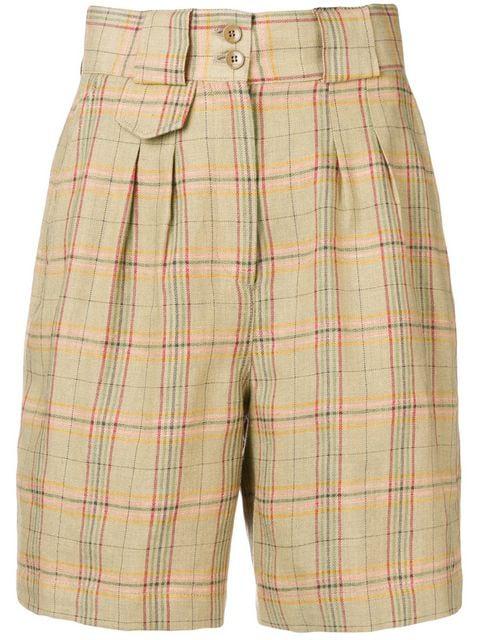 Etro High Waist Plaid Shorts In Neutrals