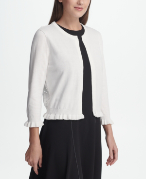 Dkny Open Front Cardigan With Lace Back, Created For Macy's In White