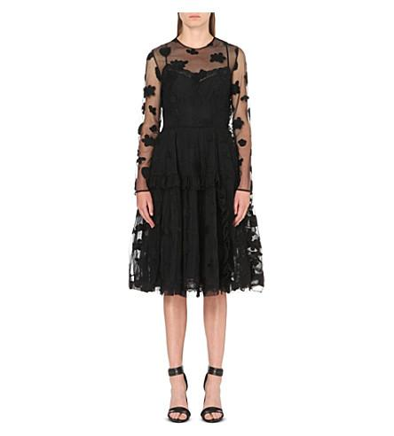 Simone Rocha Floral-Embroidered Tulle Wrap Dress In Black