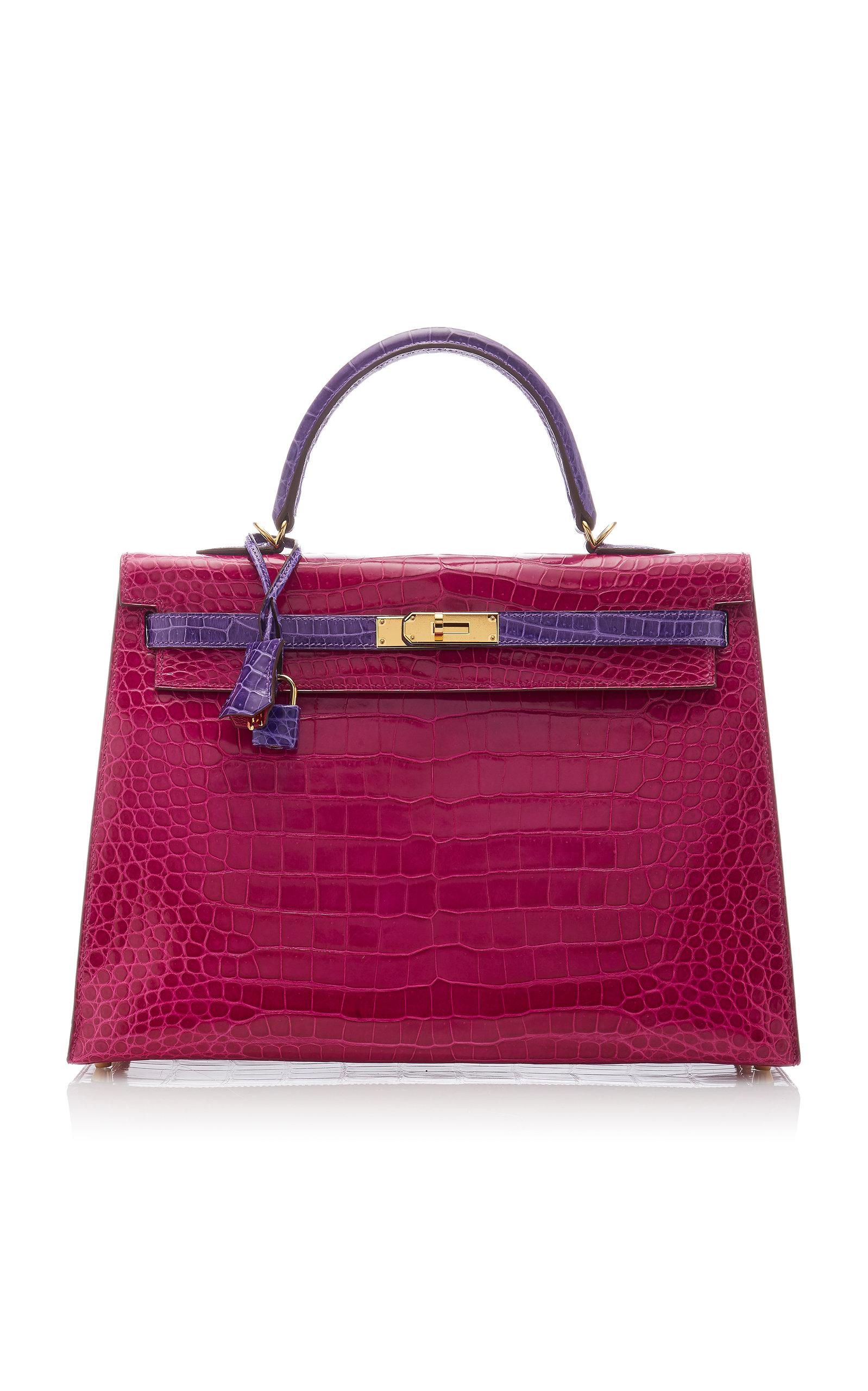 HermÈS Vintage By Heritage Auctions HermÈS 35Cm Rose Scheherazade And Violet Shiny Porosus Crocodile Kelly Bag In Pink