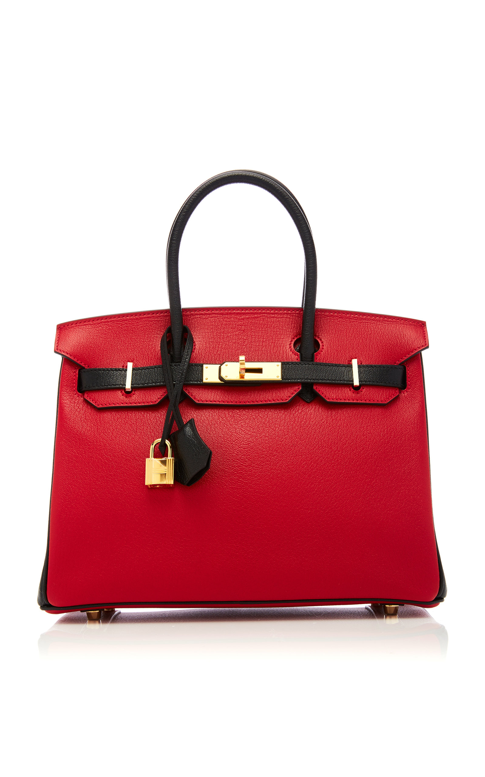 HermÈS Vintage By Heritage Auctions HermÈS 30Cm Rouge Casaque And Black Chevre Leather Special Order Horseshoe Birkin In Red