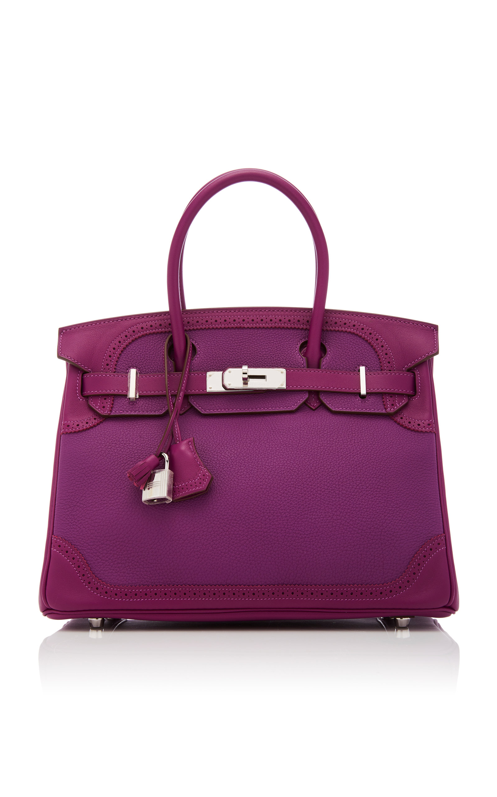 HermÈS Vintage By Heritage Auctions HermÈS 30Cm Anemone Togo Leather And Swift Leather Ghillies Birkin In Purple