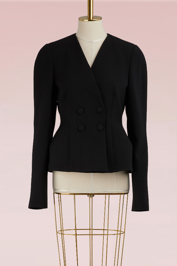 Stella Mccartney Wool Double-Breasted Jacket In 1000 - Black
