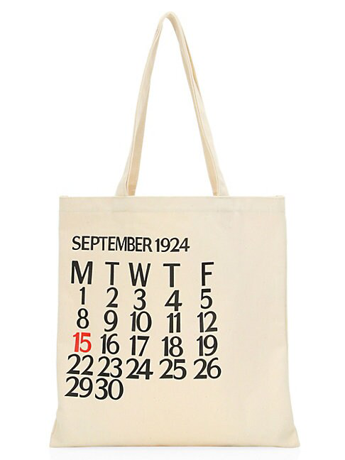 Saks Fifth Avenue Five-day Calendar Canvas Tote Bag In White