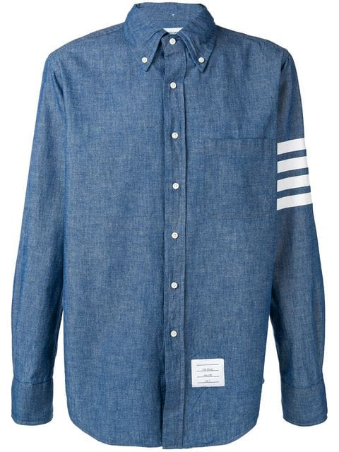Thom Browne Straight Fit Stripe Chambray Sport Shirt In 450 Blue