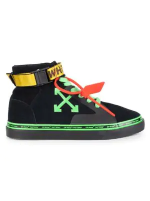 Off-White Logo Belt-Strap High-Top Suede Skate Trainers In Black