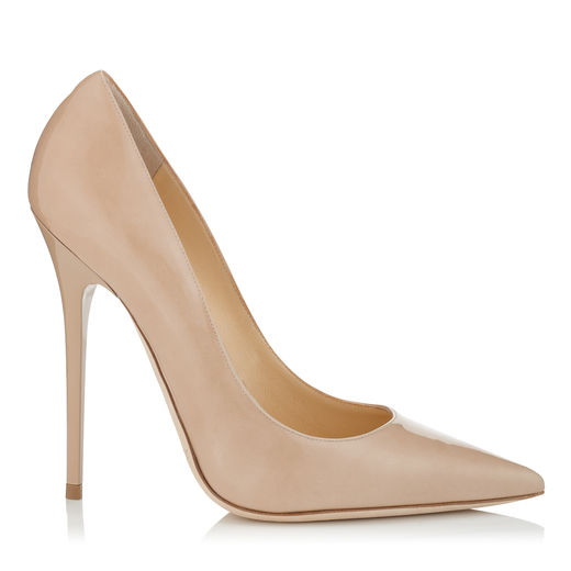 Jimmy Choo Anouk Patent Leather Pointy Toe Pumps In Nude