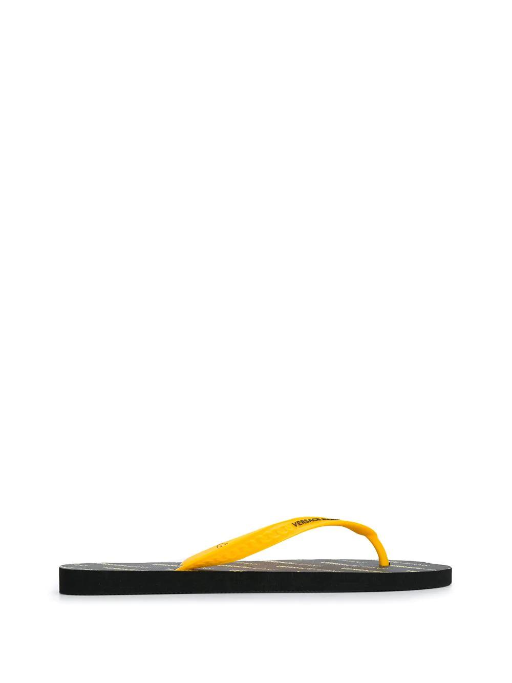 daa4b5904 Versace Jeans Chain-Embossed Flip Flops - Yellow