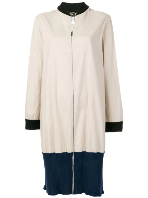 Pre-owned Jean Paul Gaultier Vintage Colour Block Zipped Coat In Neutrals