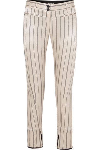 Ann Demeulemeester Cropped Striped Cotton-blend Satin Slim-leg Pants In Ecru
