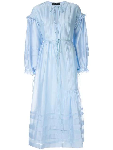 Anna October String Tie Maxi Dress In Blue