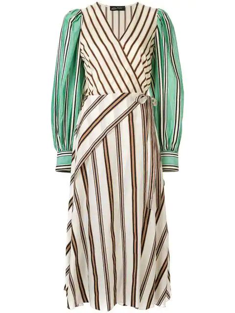 Anna October Striped Wrap Dress In Multicolour