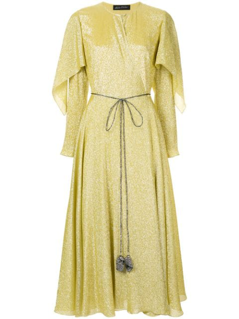 Anna October Cape Wrap Dress In Yellow