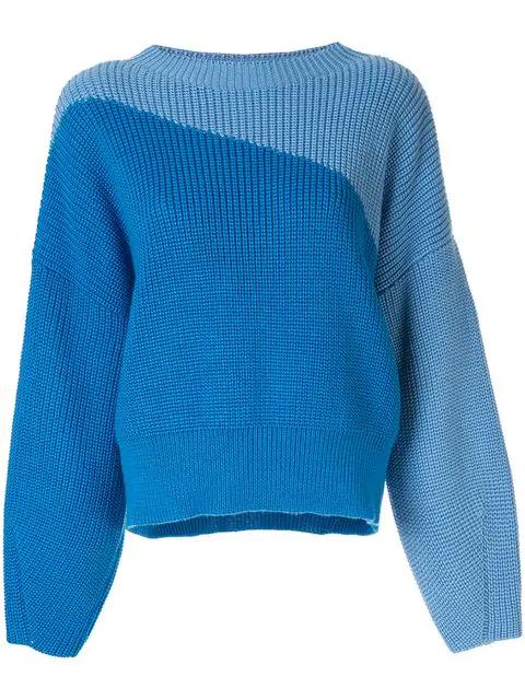 Anna October Colour Block Jumper In Blue