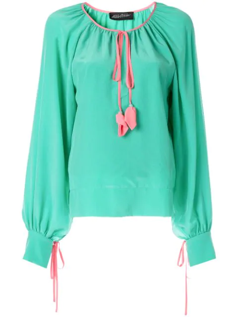 Anna October Tassel Detailed Blouse In Green