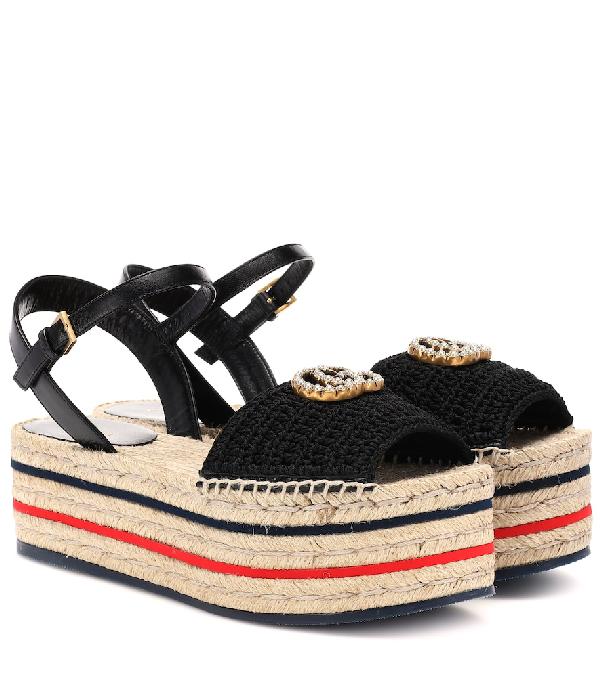 4ea55048cf11 Gucci Platform Espadrille Sandals In Black