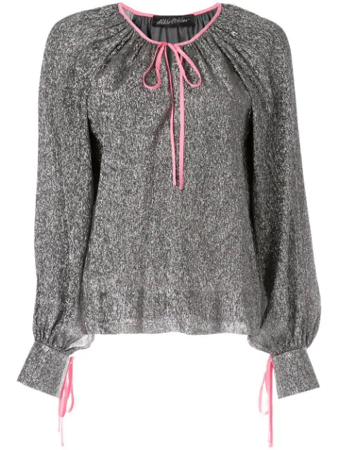 Anna October Ribbon Tied Blouse In Grey