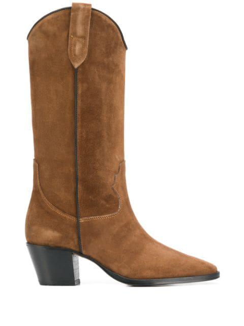 Paris Texas Mid-calf Heel Boots In Brown