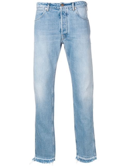 Golden Goose Raw Edge Jeans In B1 Light Blue Wash