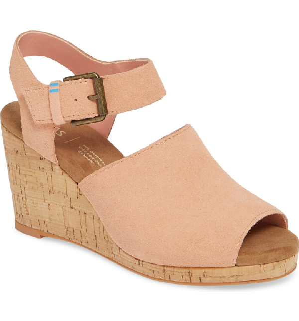 6ccc555d1ea9 Toms Tropez Wedge Slingback Sandal In Coral Pink Suede