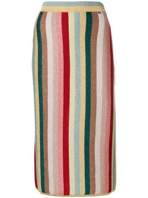 Elisabetta Franchi Multicoloured Striped Skirt In Neutrals