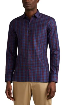 Lanvin Checked Cotton-Poplin Shirt In Blue