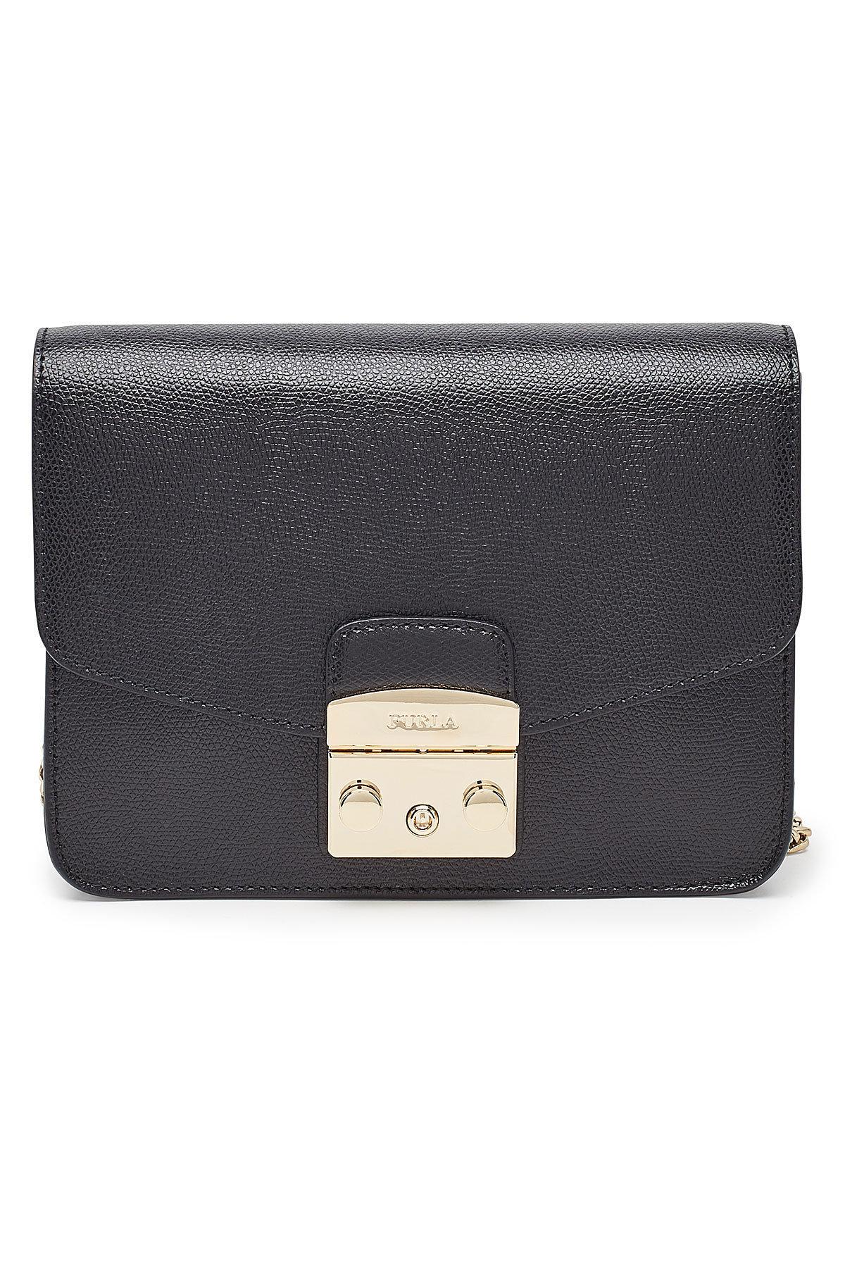 Furla Metropolis S Leather Crossbody Bag In Black